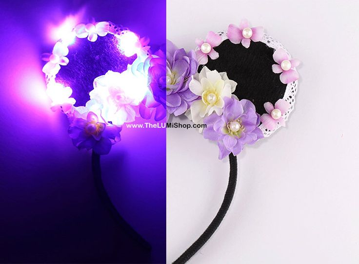 Purple led light up mickey ears flower mickey ears floral for Light up flower lamp