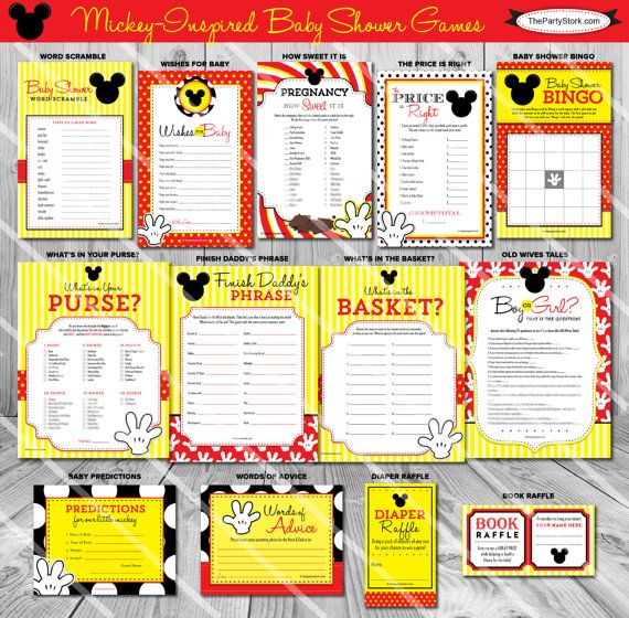 Mickey Mouse Baby Shower Games | Boy Baby Shower Theme Printable Game Red Yellow | ONE GAME You Choose | Invitation