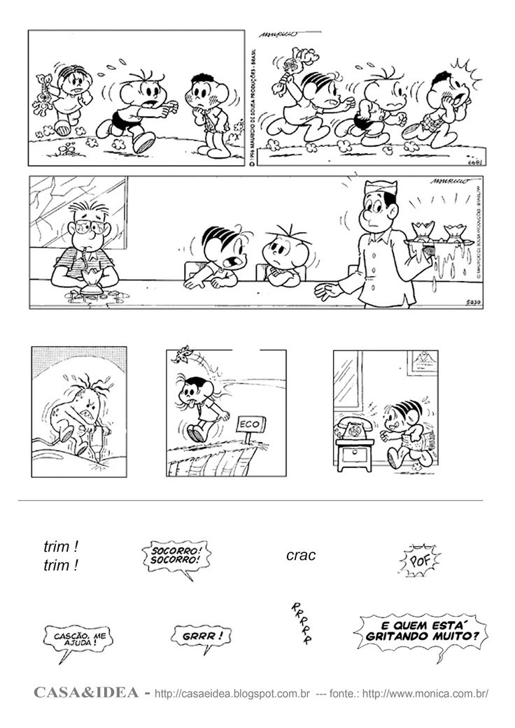 CASA: Historia em Quadrinhos, Colagem dos diálogos - Série: Apoio Educacional em Casa