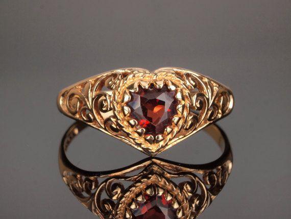 Gold Garnet Heart Ring Valentine Ring with by BelmontandBellamy