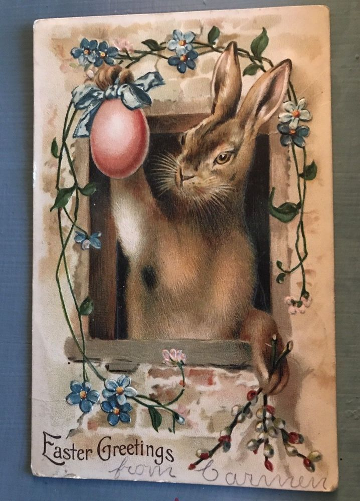 Big Bunny Rabbit with Egg & Flowers  Antique Easter Holiday Postcard-p549 #Easter