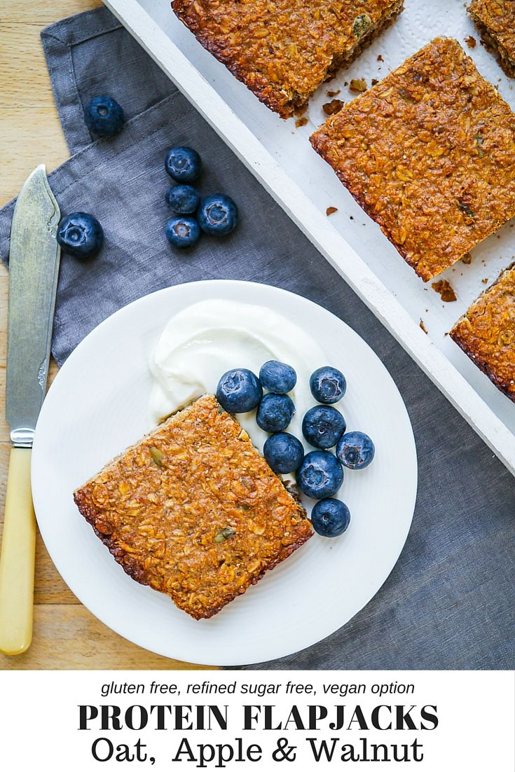 Oat, Apple & Walnut Protein Flapjacks on nourisheveryday.com - the perfect healthy snack, gluten free and refined sugar free, with a simple vegan option too!