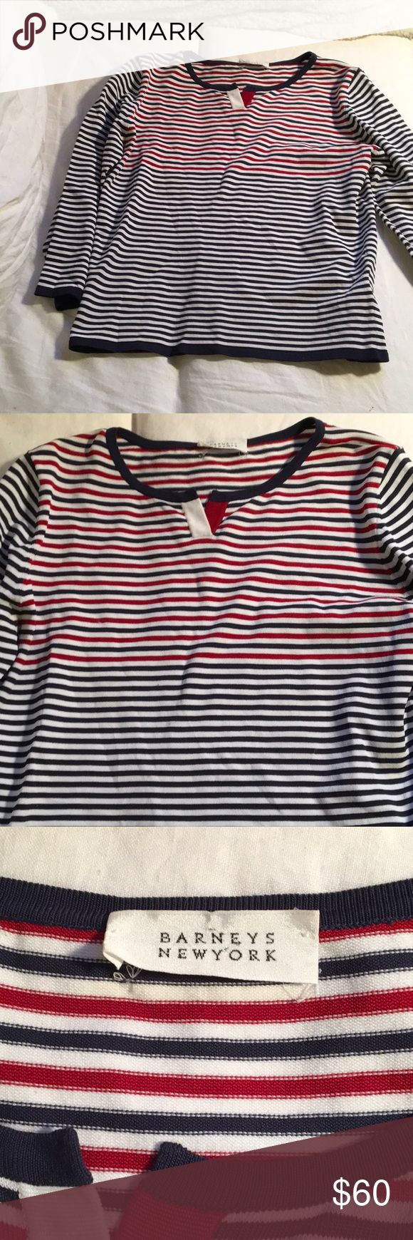 "Barneys New York Luxury Striped Nautical Top This is a very cute top, you, as you can see in the photos, BUT the real seller is the incredible softness 😊 it can only be described as ""dreamy"". This is an excellent top, Classic red, white, and blue stripes, perfect for a walk along the water. 3/4 sleeve, and Made in Italy. Size medium, plenty of stretch-  Flat: Pit to pit: 17.5"" Waist: 16.25"" Total length: 21"" Barneys New York Tops Blouses"