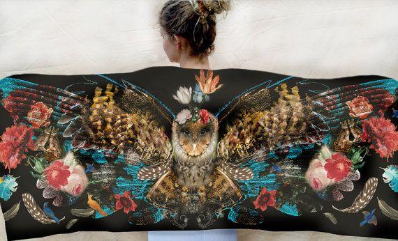 Vleugel sjaal Owl vogel veren sjaal, bosrijke omslagdoek, zijde en katoen wrap en weldra van mij!!