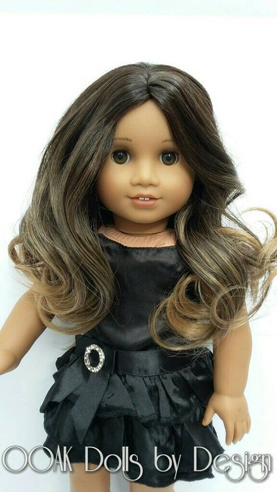 Ooak Custom American Girl Doll Wig Carmel by OOAKDollsbyDesign