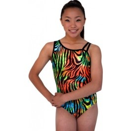 This leotard features a unique tye dye, animal print motif that is funky, fun, and just in time for the bright days of summer.  Made of a comfortable nylon lycra, it's one solid shoulder and one strappy shoulder design adds a feminine flare that your gymnast will love.  As with every Snowflake leotard, a matching scrunchie is included.  $38