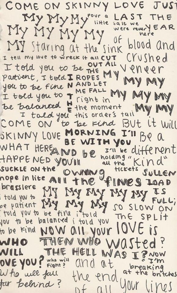 Bon Iver. Skinny Love | Tumblr
