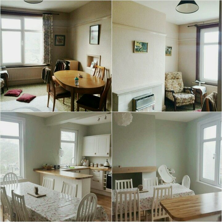 Before and after Farrow and ball cromarty  Howdens tongue and groove kitchen Oak mantel Oak worktops