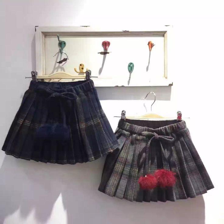 GL2003 2016/17 AW Trendy Girl's Fashion Pom-pom Skirts