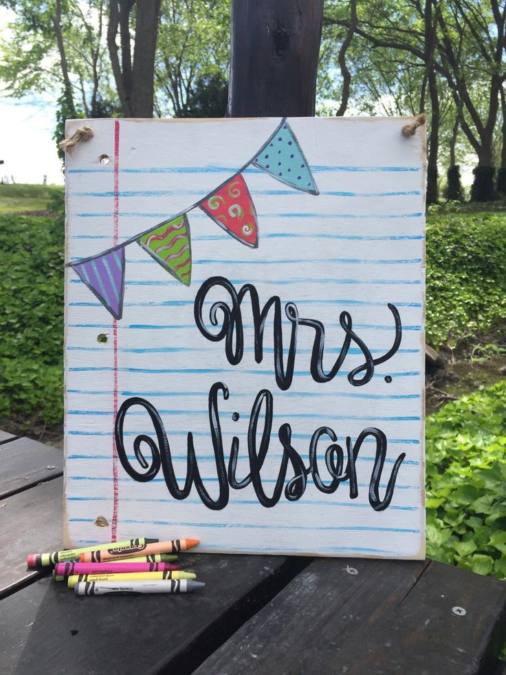 A personal favorite from my Etsy shop https://www.etsy.com/listing/290395387/teacher-name-sign