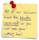 True left handed scissors have the blades reversed so you can see your cutting line and cut cleanly.  If the top blade is not on the left as you cut they are NOT proper left handed scissors.