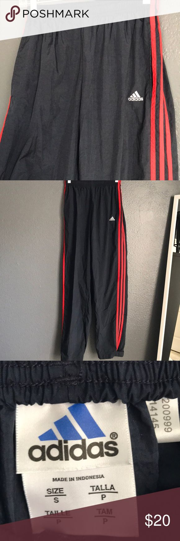 Adidas Track Pants Adidas Track Pants, size Small. Dark blue with red lines. adidas Pants Track Pants & Joggers