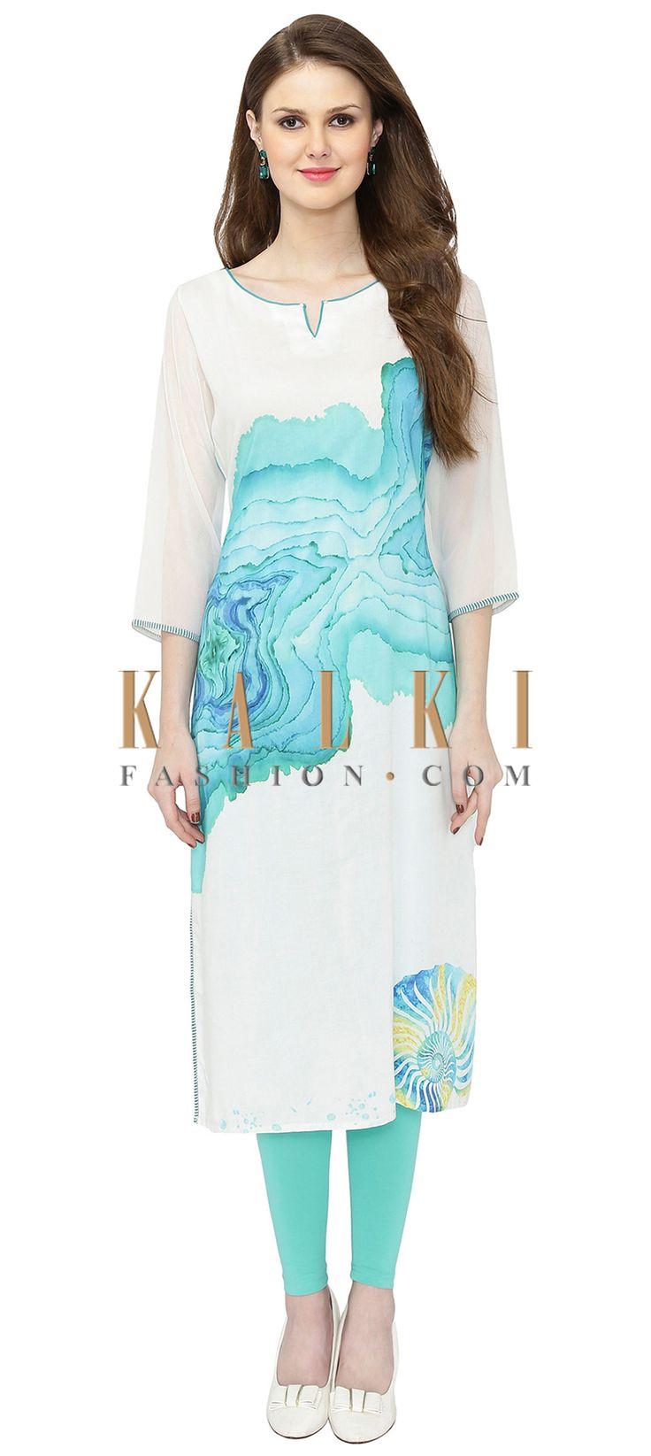 Printed Off White Cotton Silk Kurta only on Kalki