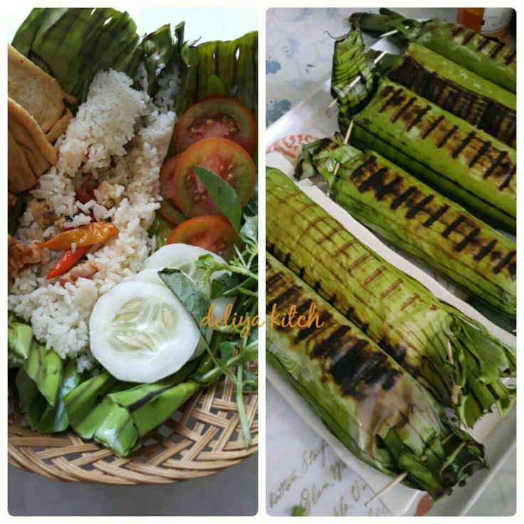 Roasted rice from my kitchen .. rice made with coconut milk, then stir stuffed chicken, meat, or fish according to our wishes, then wrapped in banana leaves and baked ..