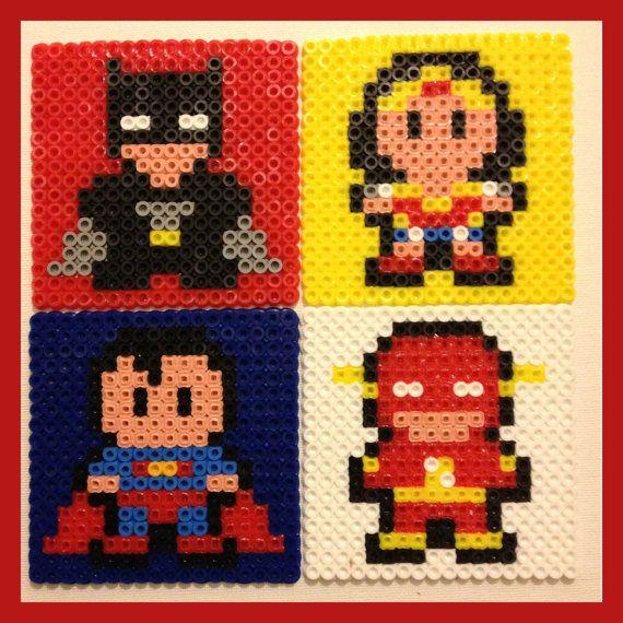 Superhero Coasters Superman, Flash, Batman, Wonder Woman perler beads by K8BitHero