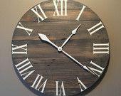 Grande gris rústico madera reloj - plataforma - reciclado reloj de madera - reloj de pared grande reloj - reloj de pared única - granja
