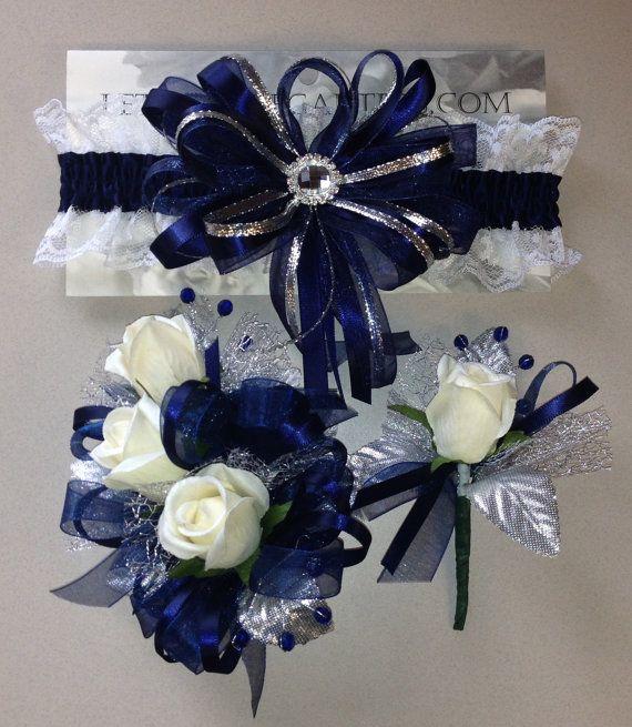 Navy Blue Silver Prom Garter n Rose Wrist by FlorescenceByDesign, $46.95