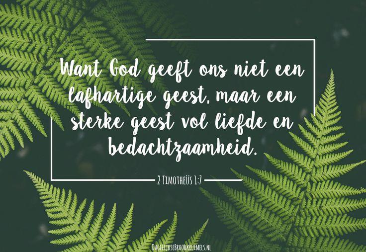 2 Timotheüs 1:7  Want God geeft ons niet een lafhartige geest, maar een sterke geest vol liefde en bedachtzaamheid. 2 Timotheüs 1:7