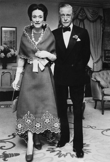 "Wallis Simpson (Bessie Wallis Warfield-Spencer-Simpson) (1896-1986) USA wife of King Edward VIII ""David"" (Edward Albert Christian George Andrew Patrick David) (1894-1972) Prince of Wales UK, Duke & Duchess of Windsor ... In an appliqué dress and matching wrap in the late 60's"