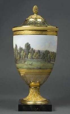 Porcelain vase with landscapes of Malmaison, one of a pair, offered by the Queen Louise of Prussia to the Empress Josephine in 1805.