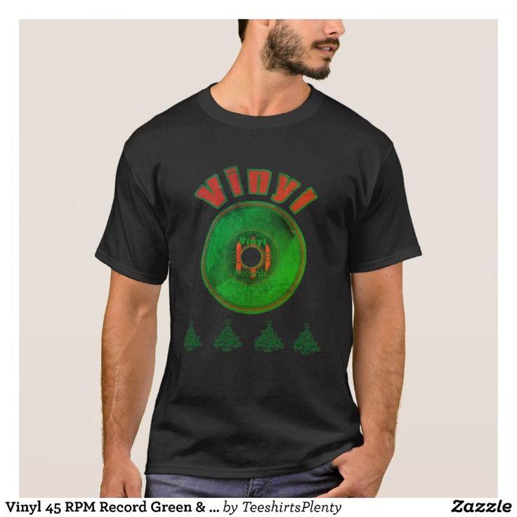 Vinyl 45 RPM Record Green & Red Christmas (Worn) T-Shirt
