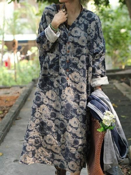 Loose style clothing ,casual loose dress made of 100% cotton linen,Women casual loose dress cotton linen loose fitting print maxi dresses