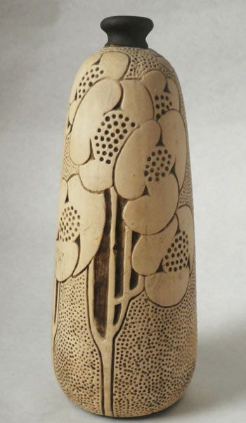 c1910 Weller Burntwood bud vase. #pottery #vases Love this patterning, try in clay?