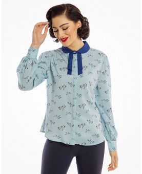 a990c3f9bbe33 Mima  Vintage 1940s Inspired Snowy Bird Print Tie Neck Blouse in ...