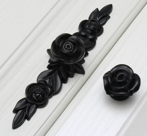 Black Rose Knobs Flower Dresser Knob Pulls Drawer by ARoseRambling
