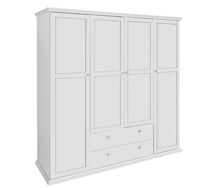 Buy HOME Canterbury 4 Door 2 Drawer Wardrobe - White at Argos.co.uk - Your Online Shop for Wardrobes, Bedroom furniture, Home and garden.