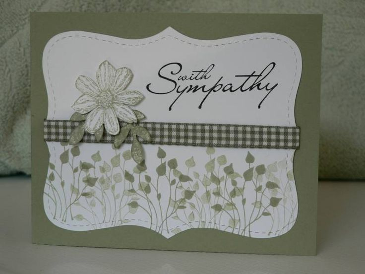 I like this layout, half stamped background, sentiment separated by ribbon