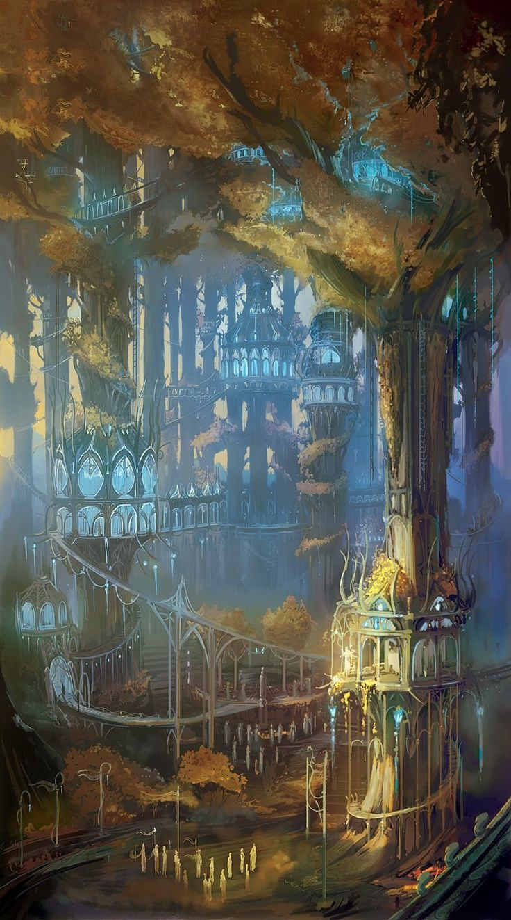 gorgeous fantasy art forest village among the trees - reminiscent of an eleven village from Tolkien