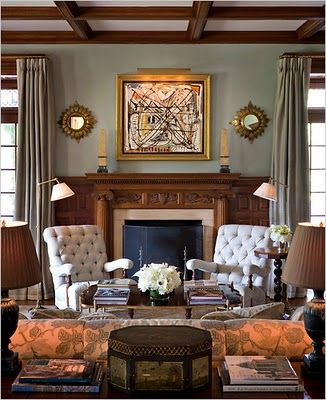 Lavish living room with wooden accents by Alexa Hampton.  I met her at an antiques show in Nashville.