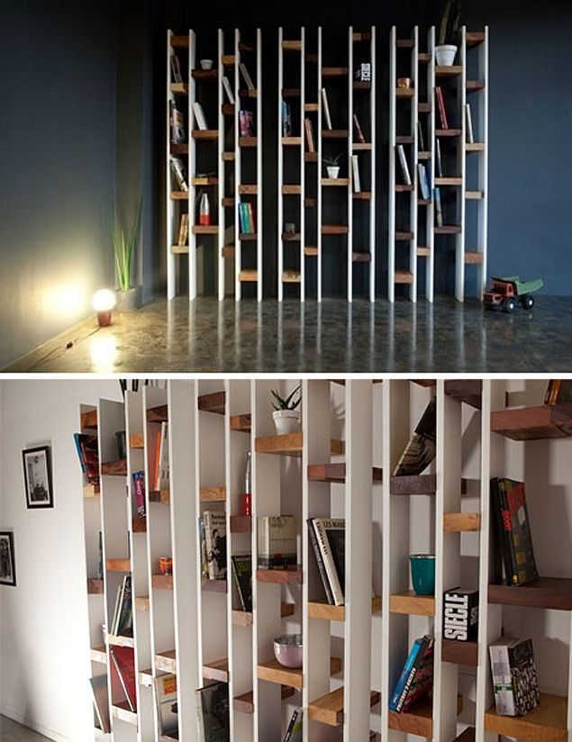 This Shelving Intrigues Me. Very Cool Use Of Varied Colored Stains