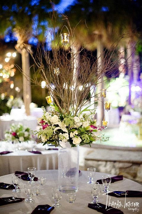 Beautiful wedding reception table centerpiece. Would be great at our Mombasa Island Pavilion in the San Diego Zoo Safari Park!