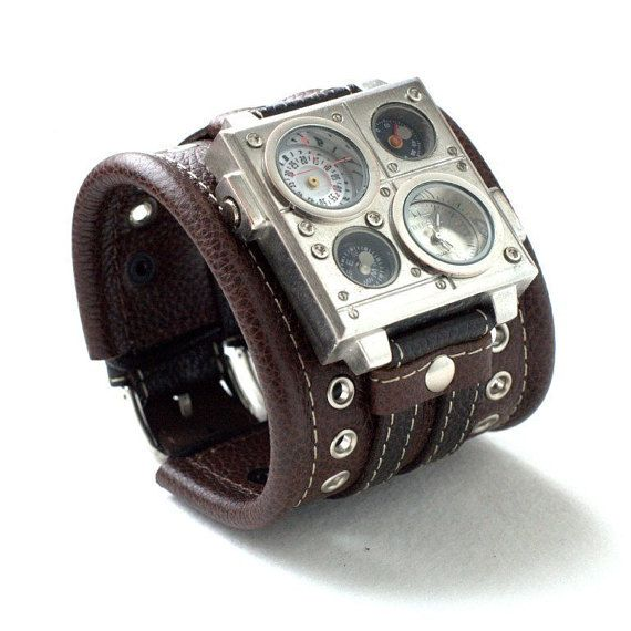 """Mens Watches, leather bracelet """"Protest"""", Gifts for Mens, Unisex wrist watch, mens watches, SALE, Steampunk, Worldwide Shipping"""