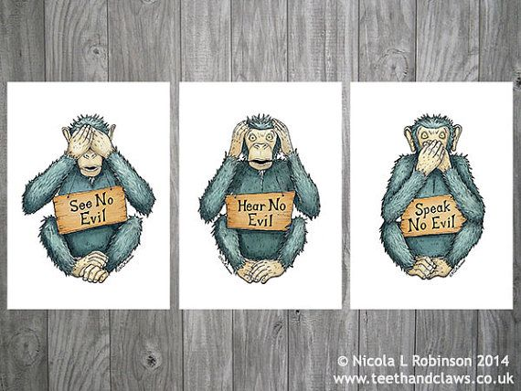 Three Wise Monkeys Monkey Art Prints Monkey Wall by TeethandClaws