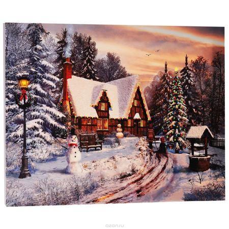 """КвикДекор Картина на холсте """"Старый коттедж, Рождество"""", 60 см х 40 см  — 460.2р.  Картина на холсте КвикДекор """"Старый коттедж, Рождество"""" - это прекрасное украшение для вашей гостиной или спальни. Она привнесет в интерьер яркий акцент и сделает обстановку комфортной и уютной. Доминик Дэвисон создает свои картины, используя компьютер и 3D-графику. Большое влияние на творчество Дэвисона оказал голландский пейзажист Баренд Корнелис Куккук, именно поэтому в его работах преобладают эстетические…"""
