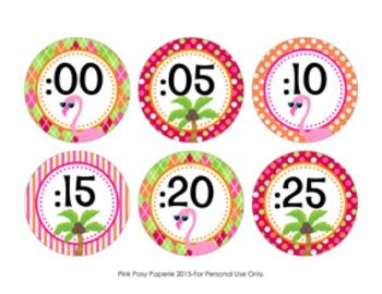 These flamingo theme clock numbers are great to help your students tell time. They match the other flamingo theme items I have in my store.The labels measure 3 inches. Print onto cardstock and laminate for sturdiness. Trim and adhere to the wall around your clock.File includes two 8 1/2 x 11 pages.