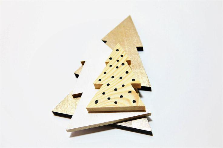 Choinki drewniane - komplet 3szt. - KUKUdesign - Dekoracje: drewno
