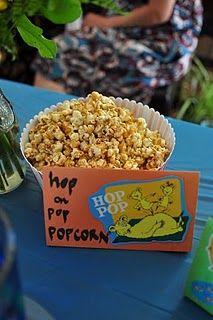 Hop on Pop Popcorn center piece. Along with red fish blue fish goldfish cracker bowls.
