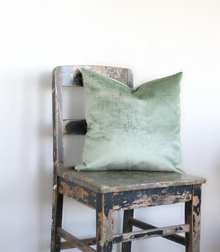 Sage Green Velvet Pillow Cover, All Sizes vintage pale green velvet cushion cover, sage velvet throw pillow decor, distressed velvet, lumber by northwestdecor on Etsy https://www.etsy.com/listing/235852811/sage-green-velvet-pillow-cover-all-sizes
