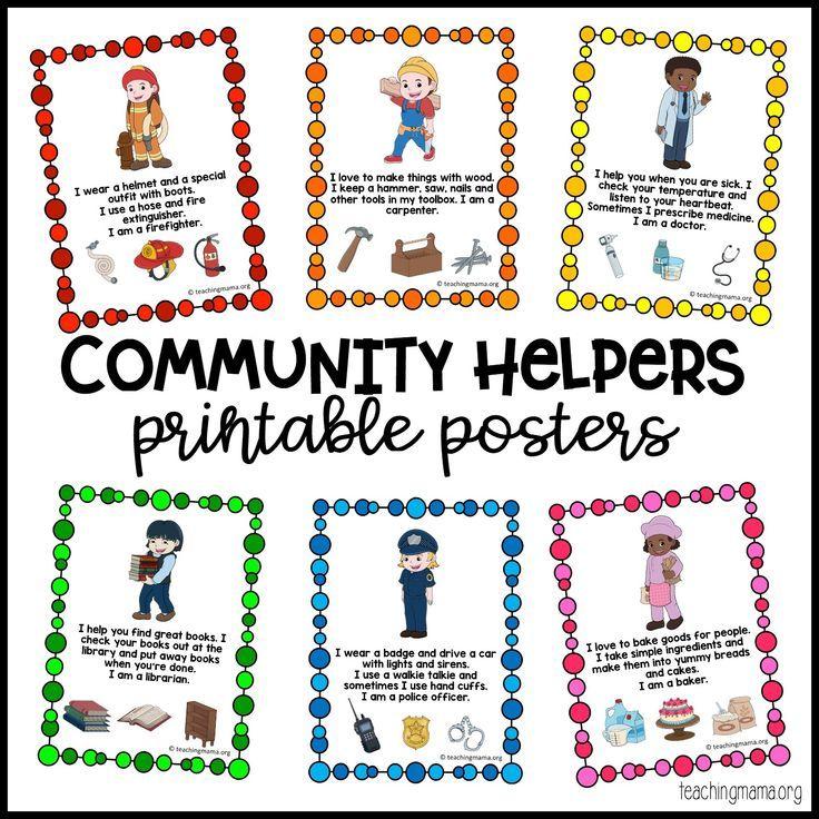 Community Helpers Printable Posters Community helpers