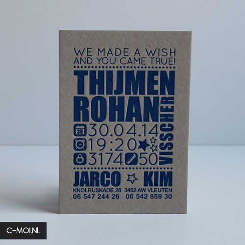 Birth Card printed with letterpress by C-MOI