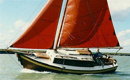 "Length overall (on deck) 22'-0""  Length overall (including bowsprit) 25'-0""  Waterline length 19'-2""  Beam 8'-0""  Freeboard forward 4'-2""  Freeboard aft 2'-10""  Draft 3'-0""  Height (to cabin top) 8'-0""  Displacement 5100 lbs.  Ballast weight 1775 lbs.  Cabin headroom 5'-10"" to 6'-0""  Cockpit well 4'-3"" x 23"" fwd, 18"" aft  Sleeping accommodations 4   Sail area - Gaff rig: Main-174 sq. ft.  Jib-76 sq. ft.,  Total: 250 sq. ft."