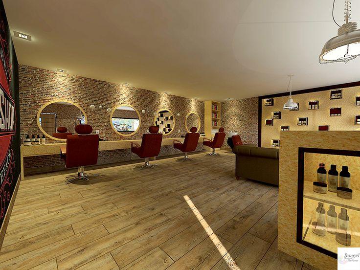 Barbearia usando OSB nas bancadas, balcão e nichos, piso de madeira, parede de tijolinhos aparentes, cadeiras em couro vermelho amarronzado.