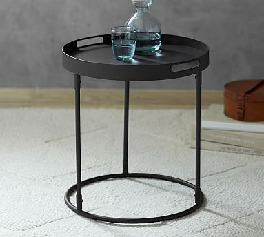 Palmer Tray Table - Black #potterybarn $163 ?between 2 chairs in living room