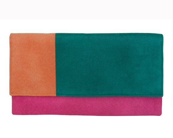 pink clutch colourful handbag tree colored clutch  by bandabag