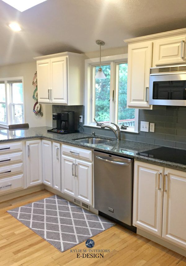 Sherwin Williams White Duck Painted Maple Cabinets And Green Undertone Granite With Glass Backsplash E Maple Kitchen Cabinets Grey Kitchen Walls Maple Kitchen