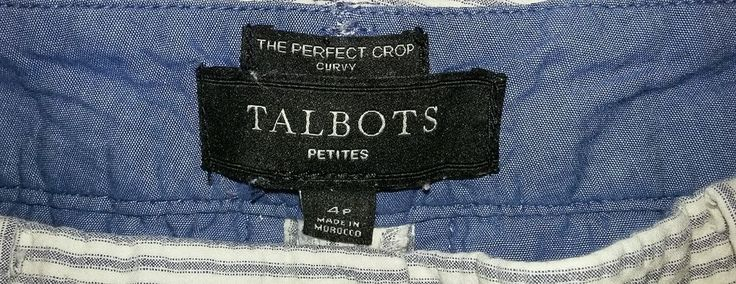 Talbots The Perfect Crop Curvy Seer Sucker 4P Size 4 Petite Pants #Talbots #CaprisCropped